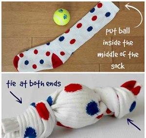 DIY dog toy sock and ball